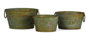 Jardin Greenwash Metal Planters, Set of 3