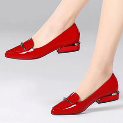 Elegant red Pointed Toe Flat Shoes Women Patent Leather Flats Fashion Slip on Ladies Shoes lady slip on ballet Office shoes