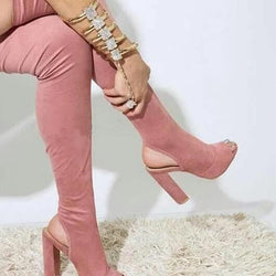 New Arrival Women Fashion Open Toe Suede Leather Over Knee Slim Long Boots Cut-out Thick Heel Thigh High Heel Boots Dress Shoes