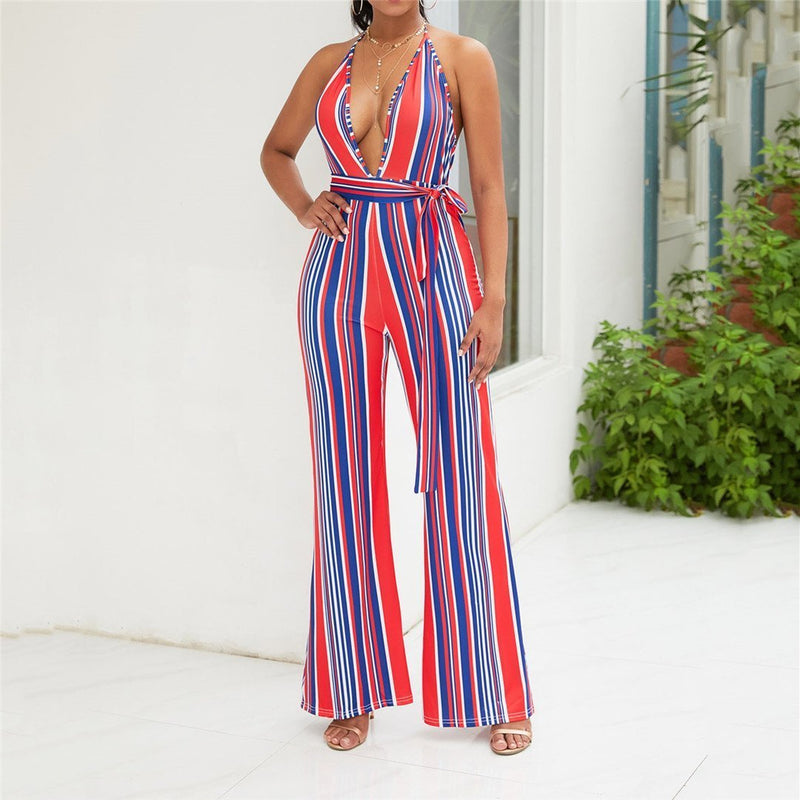 Sexy Deep V Neck Striped Jumpsuit