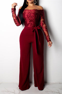 Sexy One Shouldered Wide Leg Jumpsuit