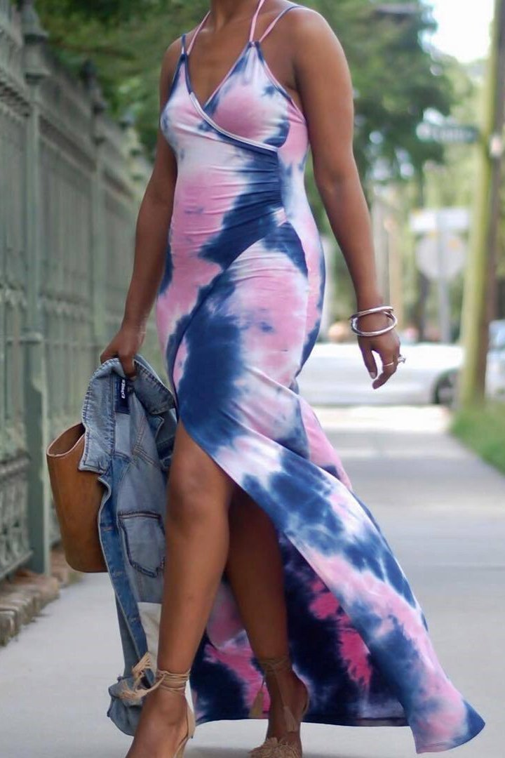 Sexy Split Sleeveless Sling Maxi Dress