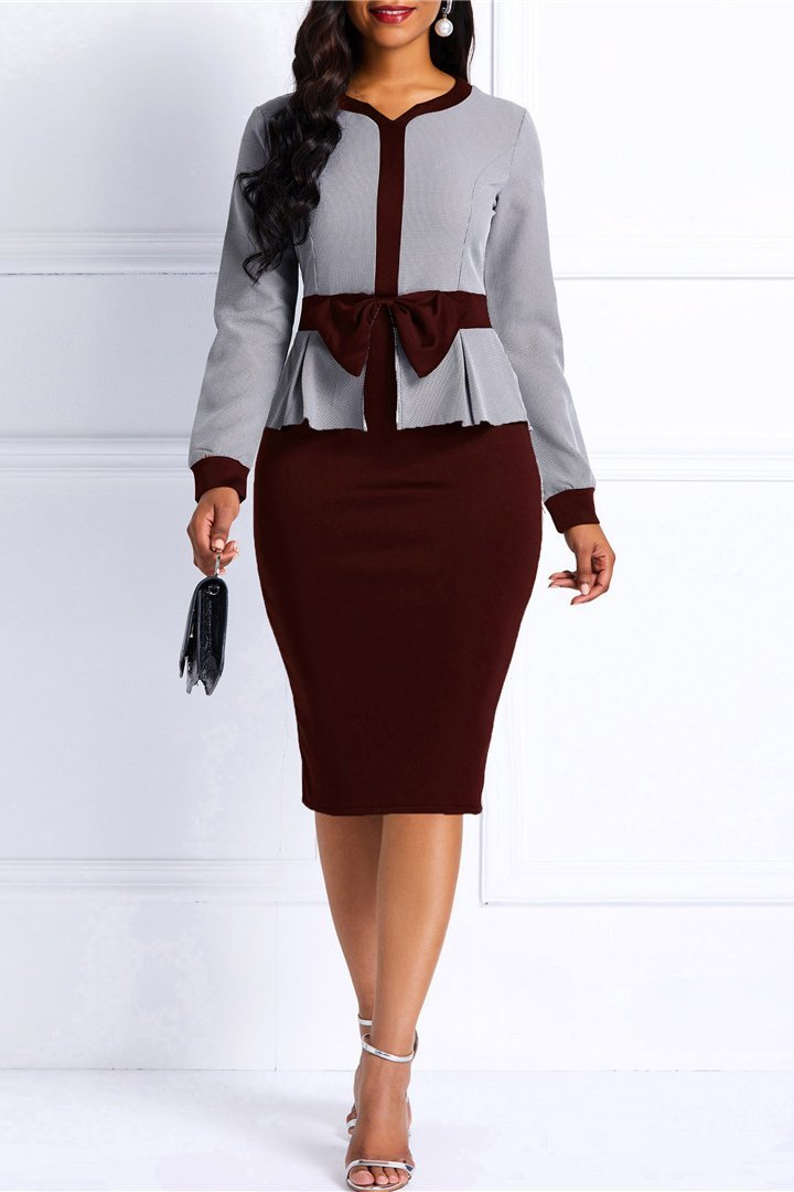 Fashion Stitching Slim Long Sleeve Casual Dress