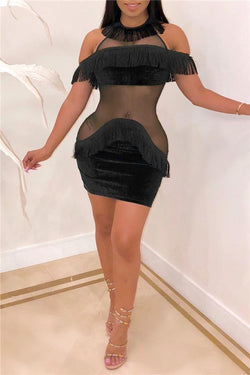 Sexy Tassels Perspective Mini Dress