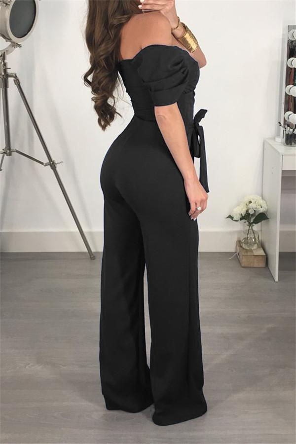 Sexy Shoulder Exposed Solid Color Jumpsuits