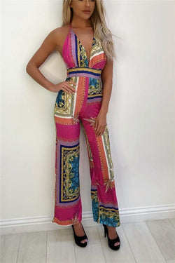 Sexy Deep V Neck Printing Sling Jumpsuits