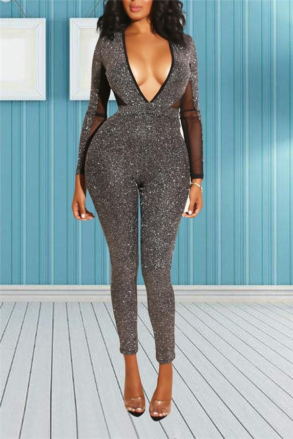 Sexy Deep V Collar Shines Jumpsuits