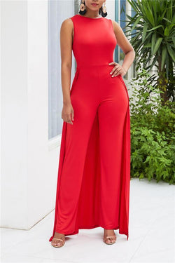 Fashionable Solid Color Relaxed Jumpsuits