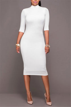 Fashion Round Collar Pure Color Bodycon Dresses