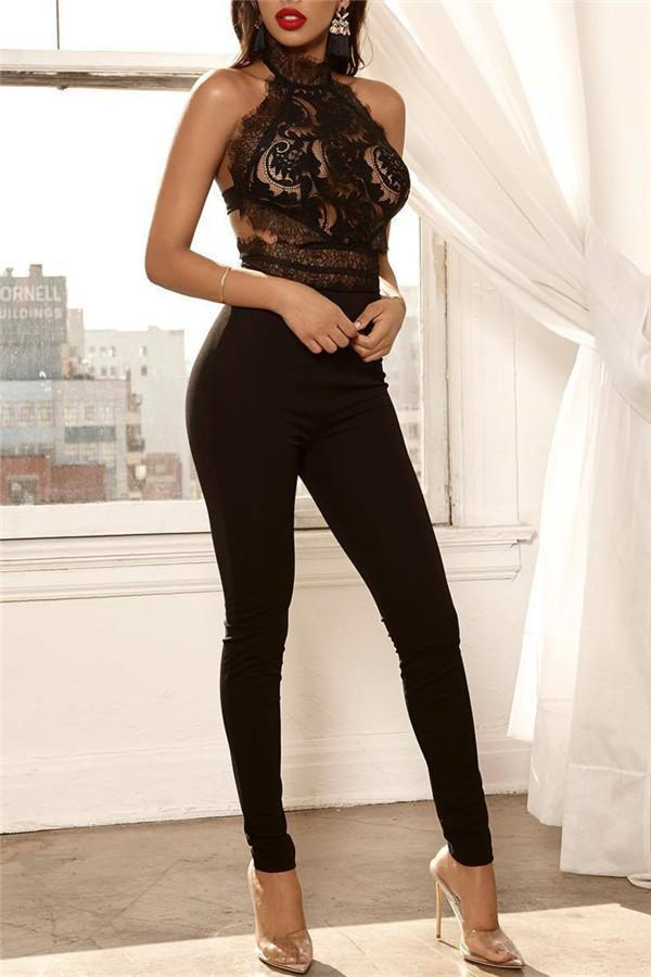 Sexy Sleeveless Lace Stitching Jumpsuits