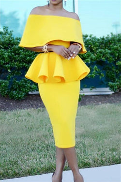 Sexy One Shoulder Solid Color Two Piece Suit