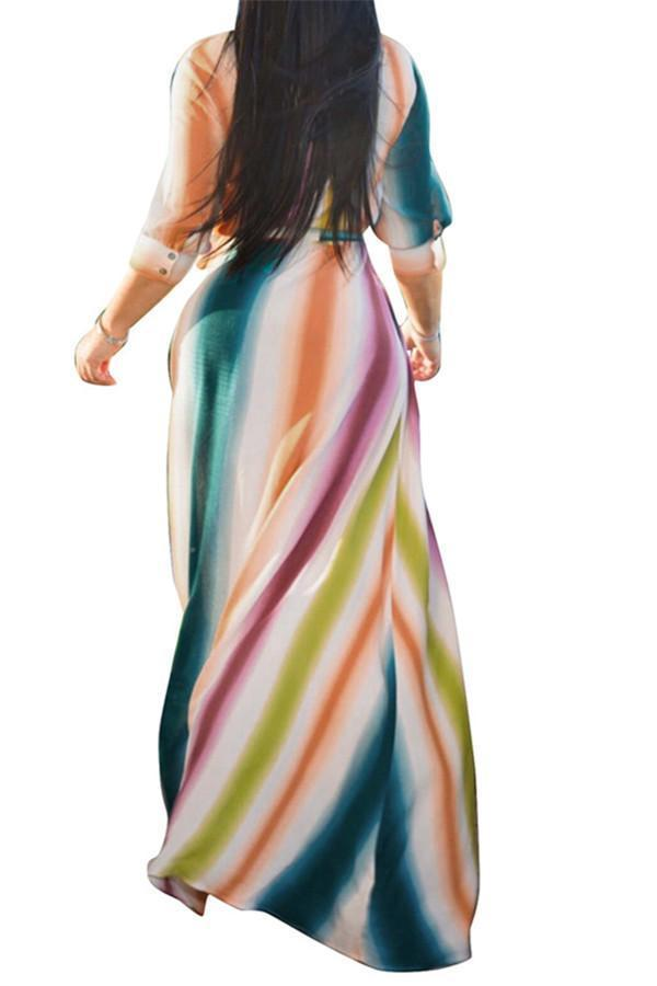 Fashion Color Stripes Seven Minute Sleeves Vacation Dress