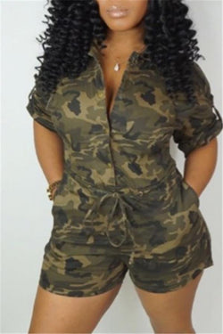 Fashion Casual Camouflage Single Row Buckle Jumpsuits