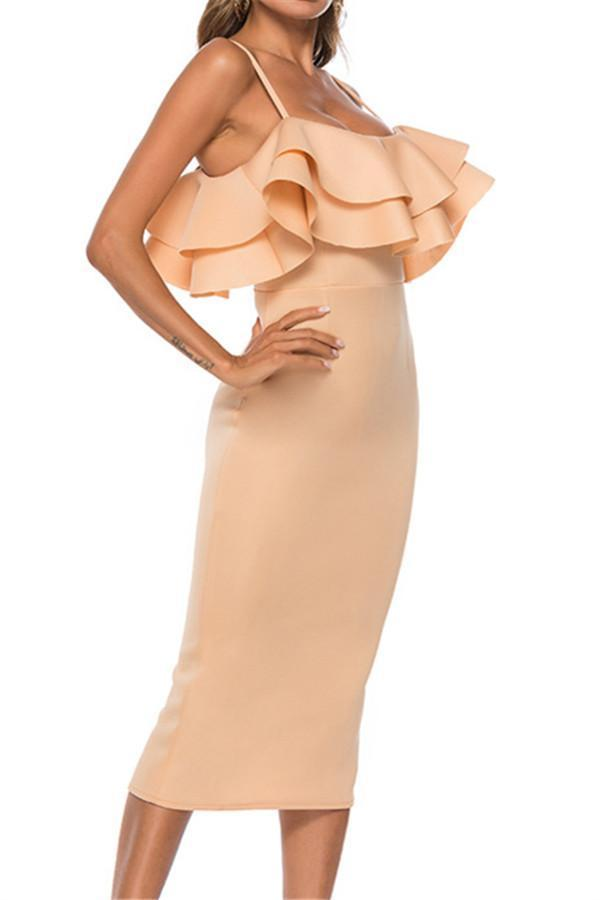 Sexy Sling Pure Color Lotus Leaf Edge Evening Dresses