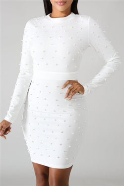 Sexy Bubble Nail Pearl Long Sleeve Bodycon Dresses