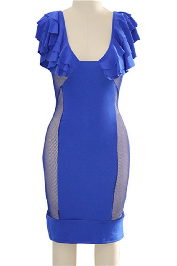 Sexy Lotus Leaf Edge Perspective Bodycon Dresses