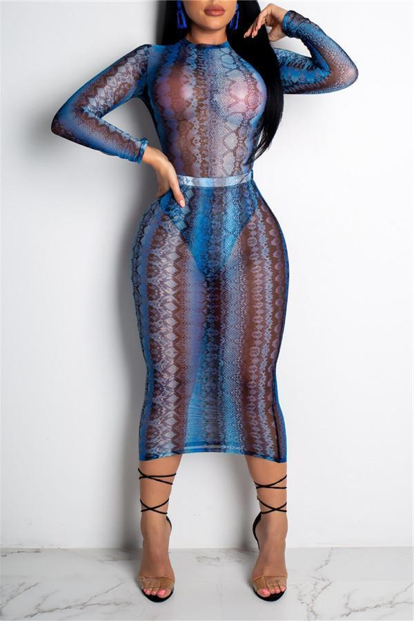 Sexy Serpentine Screen Printing Bodycon Dresses