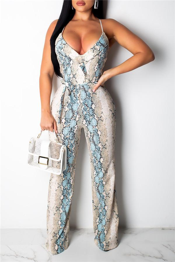Sexy Serpentine Sling Sleeveless Jumpsuits