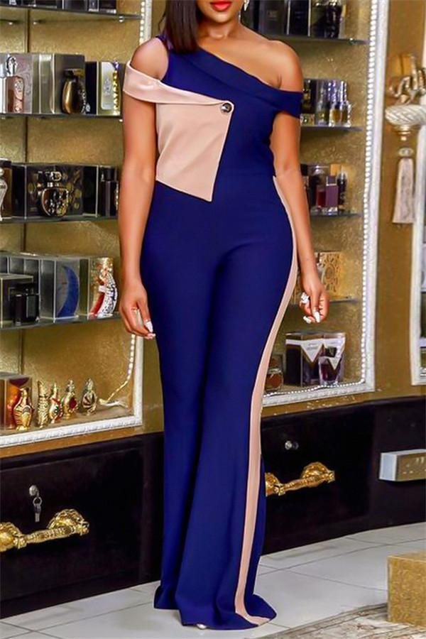 Sexy Stitching Color Shoulder Exposure Jumpsuits
