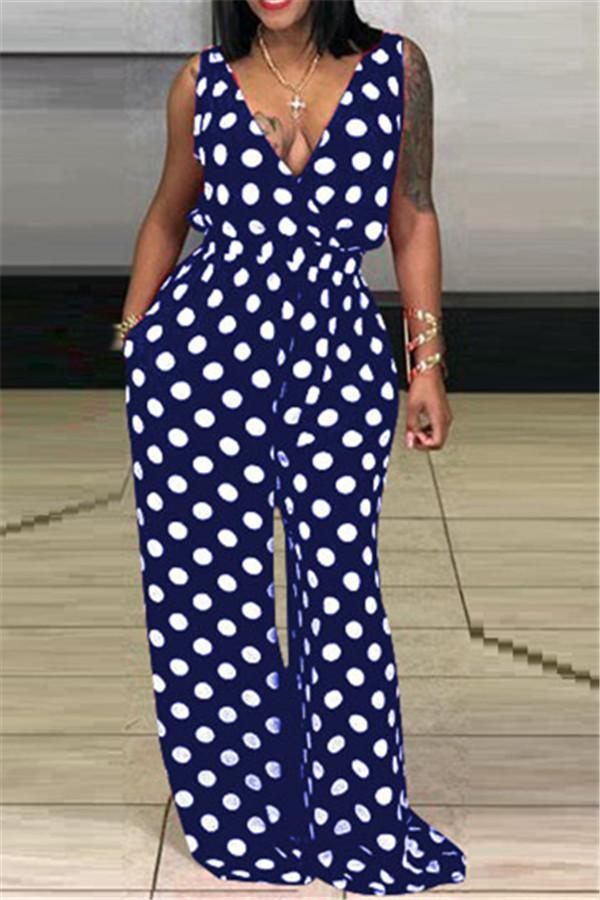 Sexy V Leading Wave Point Jumpsuits