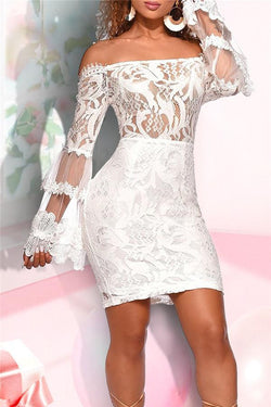 Sexy One Shoulder Lace Bodycon Dresses
