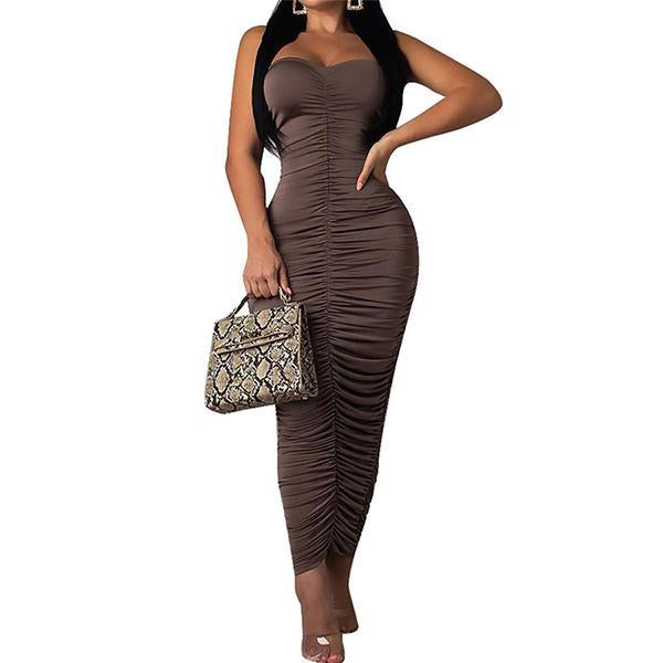 Sexy One Shoulder Folds Bodycon Dresses