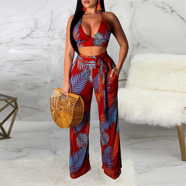 Sexy V Collar Printing Two Piece Set