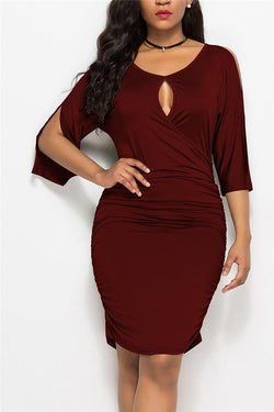 Sexy V-Neck Openwork Off-The-Shoulder Cropped Sleeves Solid Color Dresses