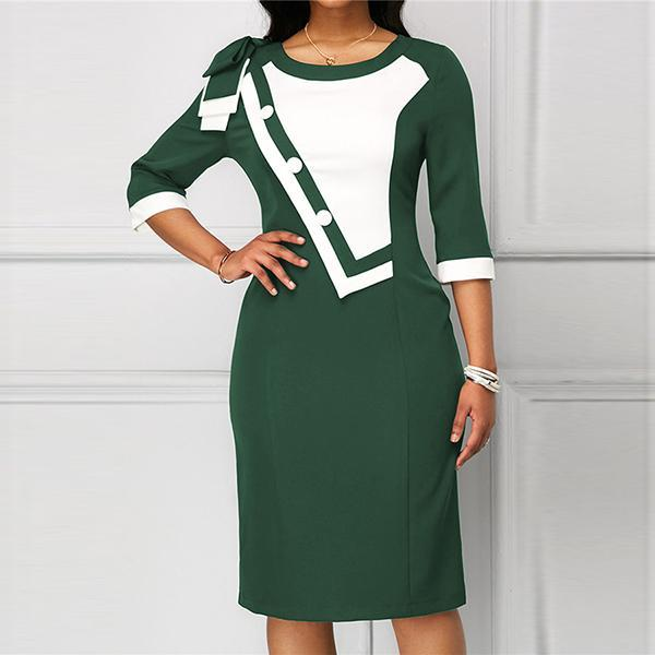 Fashion Irregular Stitching Button Decoration Round Neck Cropped Sleeves Slim Dresses