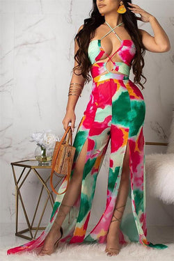 Sexy Suspenders Halter Color Printed Jumpsuits