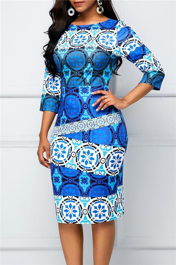 Fashion National Printed Round Collar Bodycon Dresses
