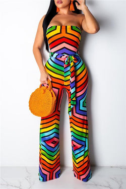 Sexy One Word Collar Frenulum Printed Jumpsuit