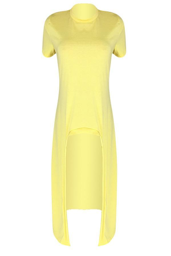 Sexy Round Collar Irregular Short Sleeves Casual Dresses