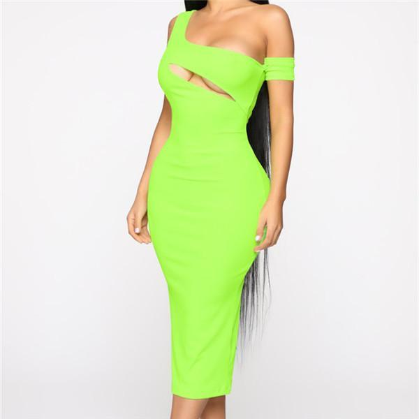 Sexy Sloping Shoulder Hollowing Out Bodycon Dresses