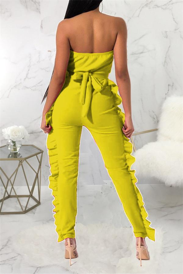 Sexy One Word Collar Pure Color Lotus Leaf Edge Jumpsuits