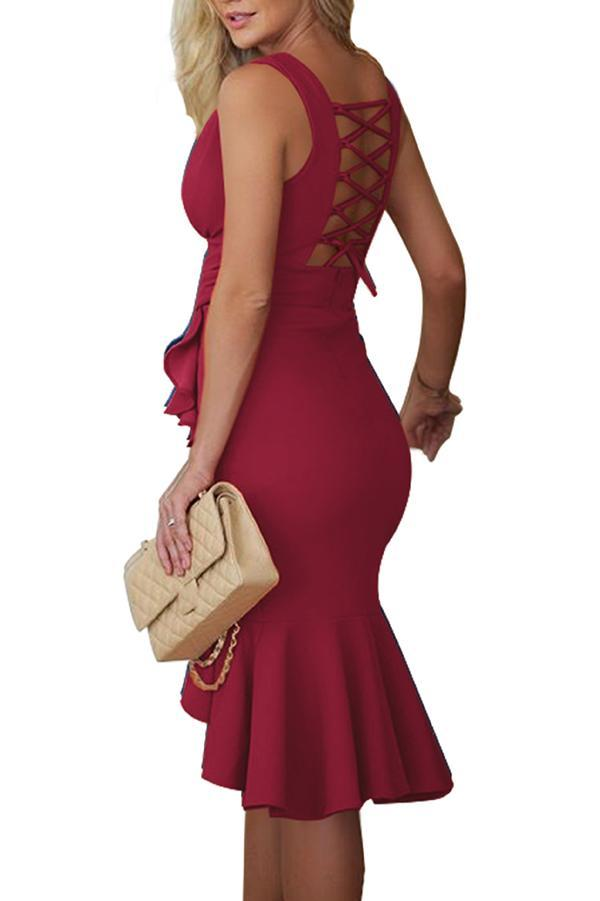 Solid Color V-Neck Halter Sexy Bodycon Dress