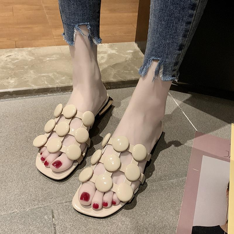 Summer Women Shoes Slippers Woman Female Slides Solid Pearl String Bead Square Mid Heels Crystal Plus Size Sexy Ladies Slipper