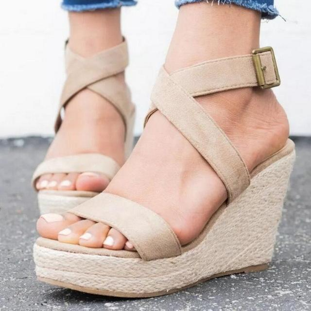 MoneRffi Summer Women High Heels Fish Mouth Cross-Tied Buckle Ankle Strap Open Toe Outdoor Cross-Tied Wedge Sandals 2019 Mujer