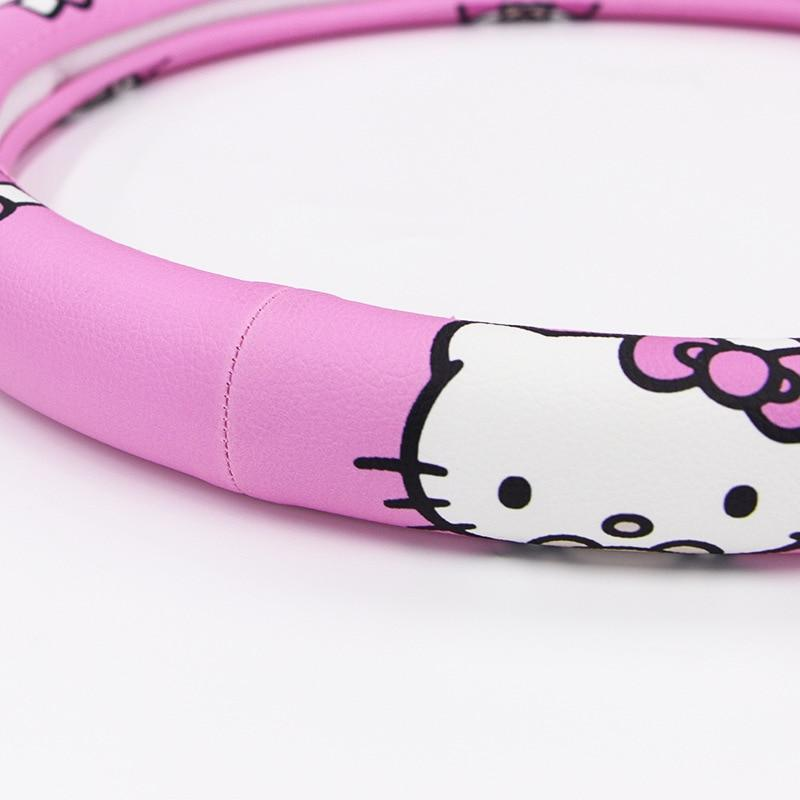 Kitty Cat Car Steering Wheel Cover Comfortable Anti-Slip Auto Steering-Wheel Cover Kawaii Car Wheel Cover Pink Car Accessories
