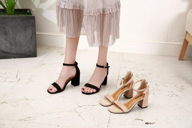 Beige Black Gladiator Sandals Summer Office High Heels Shoes Woman Buckle Strap Pumps Casual Women Shoes Plus Size 34-40 n686