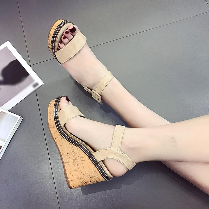 Women Summer Platform Sandals Female Fish Mouth Platform High Heels Wedge Shoes Lady Sexy Buckle Slope Sandals
