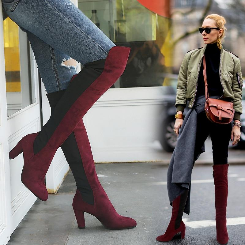 Plus Size 35-43 women knee high boots thigh fashion High heels Casual Comfort party woman winter boots #JTF888