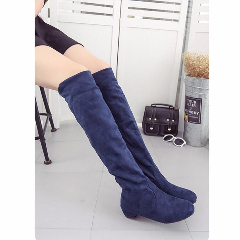 Women's High Boots Shoes Fashion Women Over The Knee Boots  New Autumn Winter Flock Botas Feminina Thigh High Boots Ladies