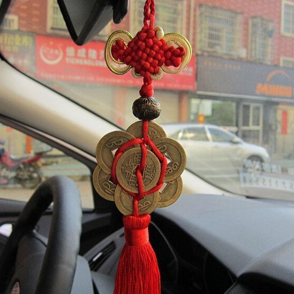 Dragonpad Fashion Chinese Knot Tassel China Mascot Lucky Charm Ancient Coins Pendant Car Hanging Accessories
