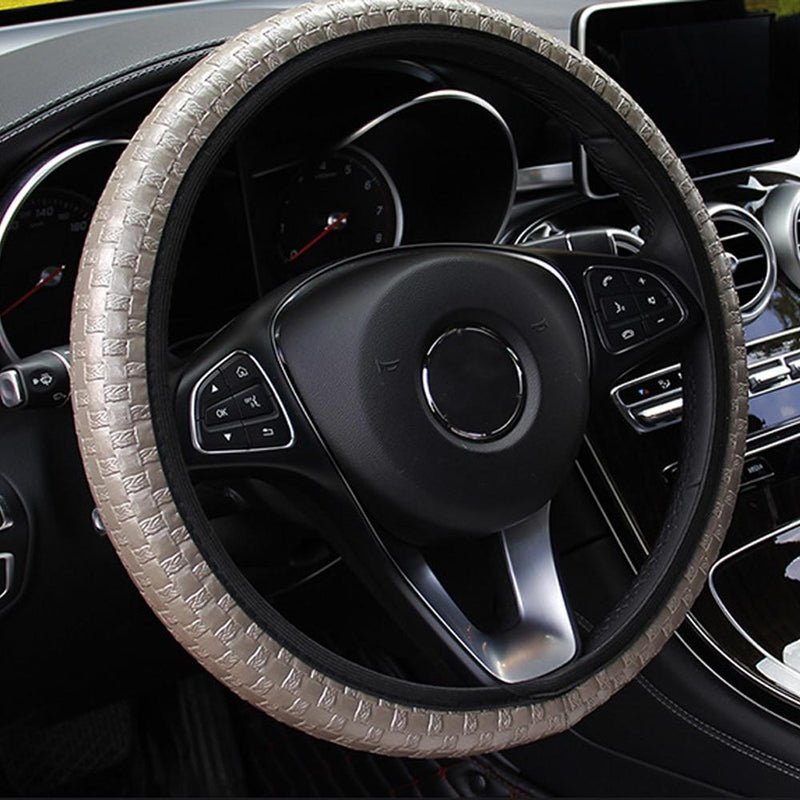 Car Steering Covers Artificial Leather Auto Decoration Knit Texture 6 Colors Car-styling Interior Accessories Elastic Universal