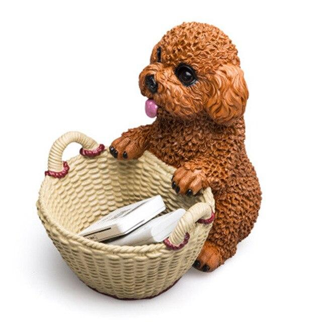 Poodle Dog Creative Simulation Animal Resin Car Interior Decoration Home Decor Storage Statue Action Figure Model Toy BOX D405