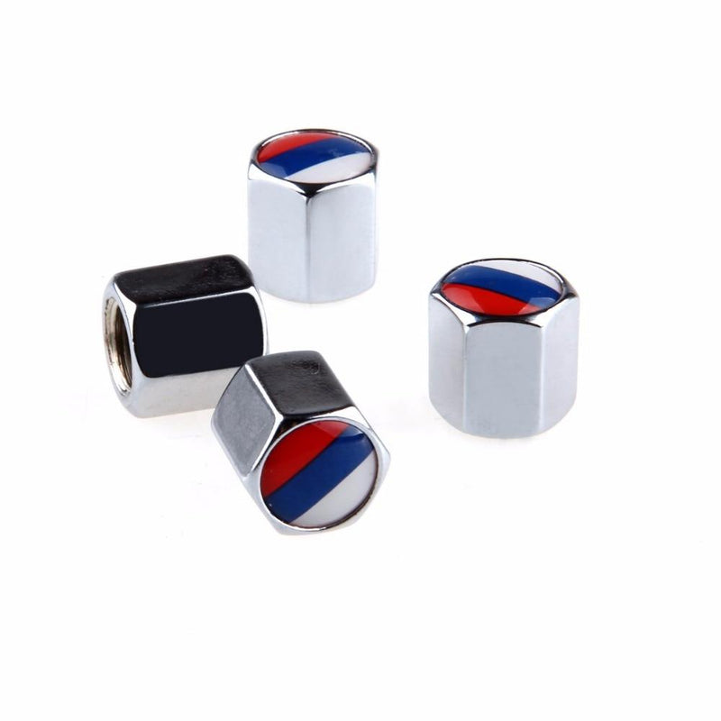POSSBAY Car Accessories 4Pcs/Set Russian Flag Stainless Steel Car Wheel Tyre Tire Stem Air Valve Caps Airtight Cover Silver