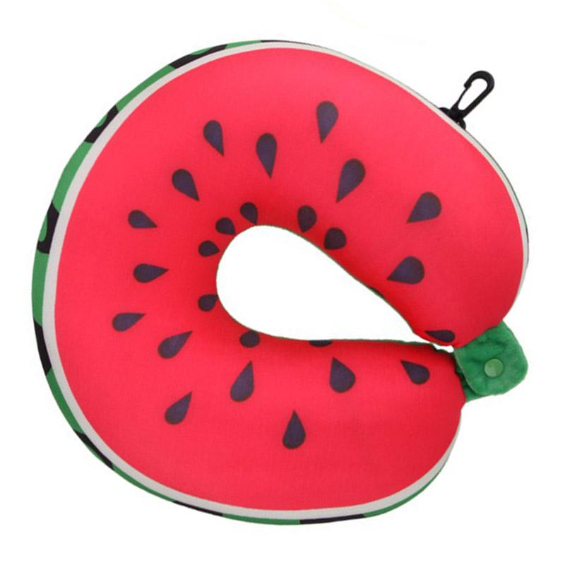 Fruit U Shaped Pillow Travel Pillows Cushion Nanoparticles Neck Pillow Car Travel Pillow  Watermelon