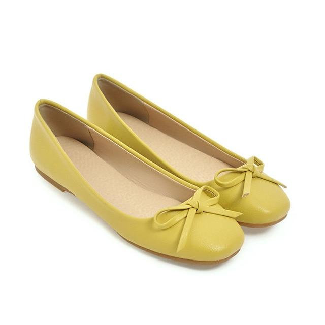 Meotina Ballet Flats Shoes Women Bow Boat Shoes 2018 Slip On Square Toe Flats Ladies Flat Shoes Yellow White Plus Size 10 42 43