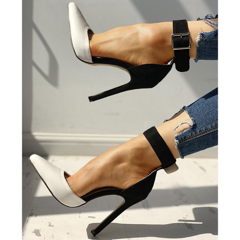 Women Summer Thin High Heels 12cm Buckle Peep Toe Gladiator Sandals Office Hollow Out Sandals Party Pumps Wedding Ladies Shoes